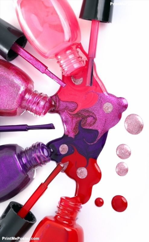 Image of bright-colored nail polish  spilling from bottles poster #poster, #printmeposter, #mousepad, #tshirt