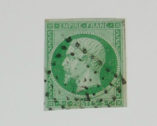 Stamp Pickers France 1854 Imperf Napoleon 5c Scott #13 FU $85