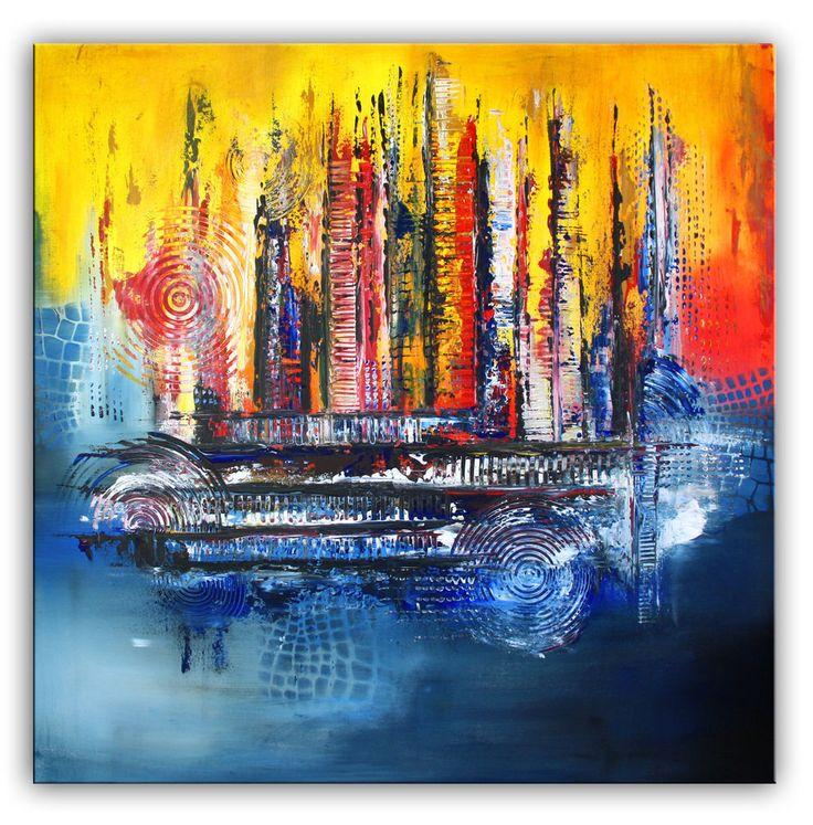 BURGSTALLER abstraktes Gemälde Original Acrylbild XXL moderne Kunst Chicago 3