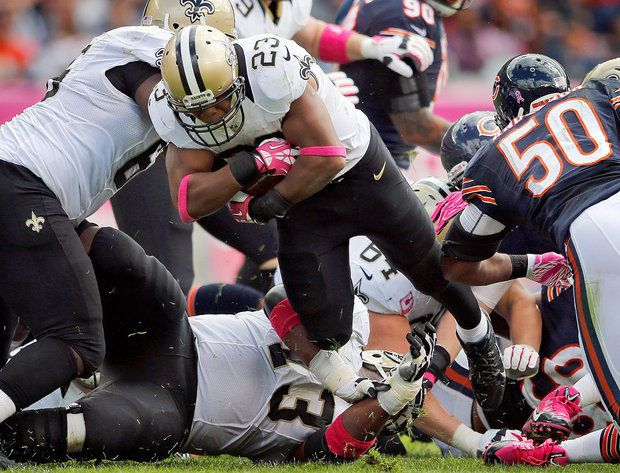 Pierre Thomas : Saints vs Bears 2013.  Saints News - Follow Us Today Website: www.SaintsNews.net  Facebook: www.facebook.com/saintsnews - @Saints News Twitter: www.twitter.com/saintsnews - @Saints News Google +: www.google.com/+SaintsNewsNet Radio:  www.blogtalkradio.com/saintsnews Pinterest:  www.pinterest.com/saintsnews