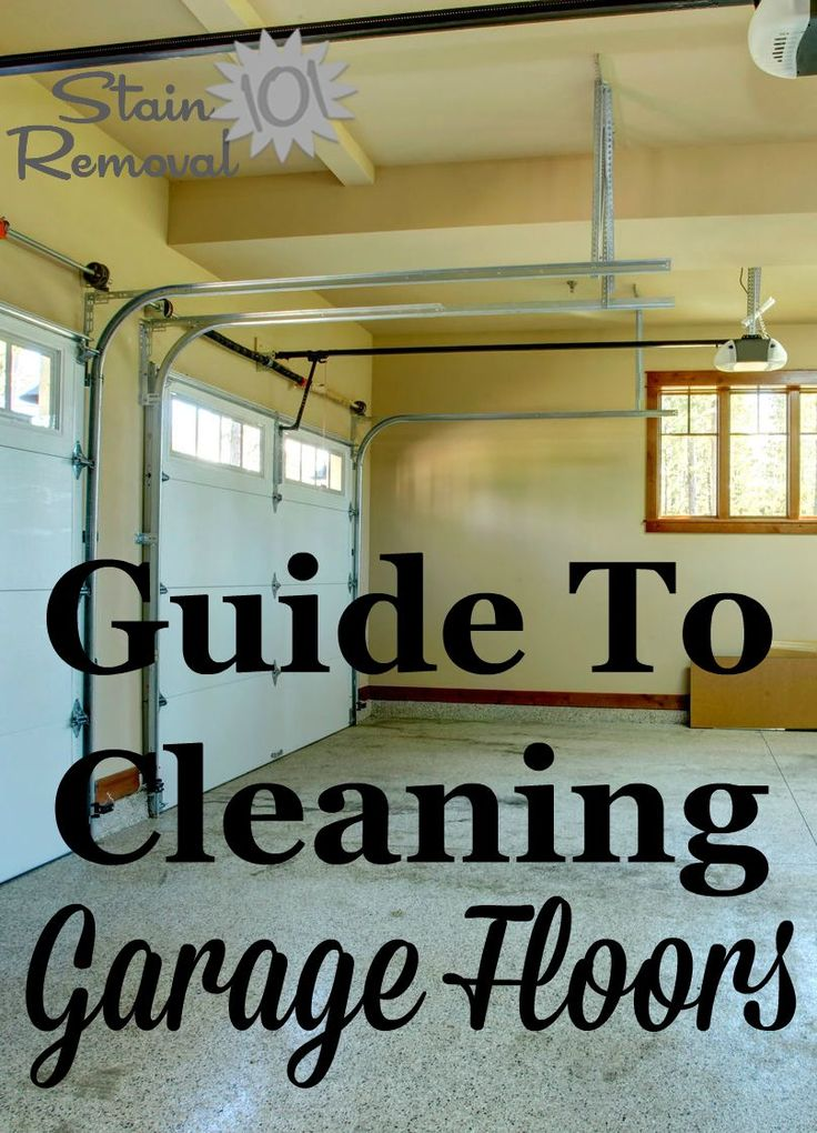 Guide to cleaning garage floors, from general cleaning to removing oil drips and stains {on Stain Removal 101}
