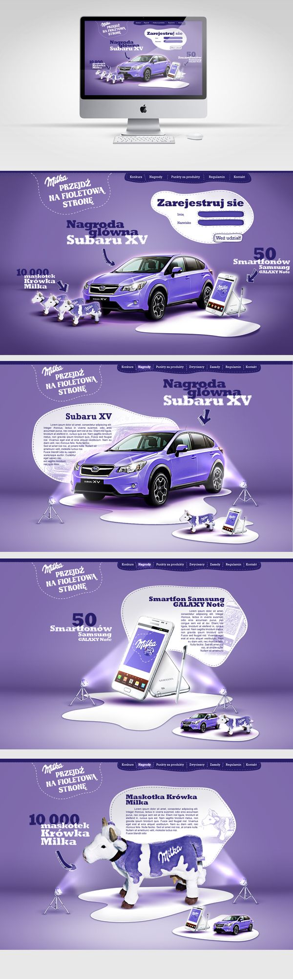 Milka by Rafał Pawłowski, via BehanceWebdesign, Subaru Xv, Web Design, Behance Plz, Digital Website, Rafał Pawłowski, Website Design Layout, Design Layouts, Website Designs