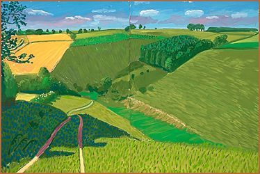 DAVID HOCKNEY: LA LOUVER - The East Yorkshire Landscape: Steep Valley, Kirkby Underdale, 2006 Oil on 2 canvases 48in x 72in