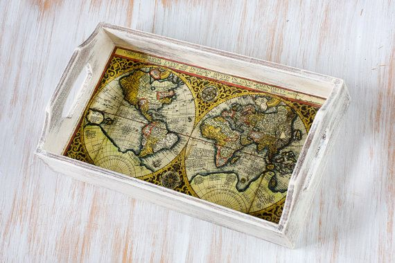"""Serving Tray, Antique map Serving Tray - 11 """"x  6,5""""x  1.8 ',  Hostess gift, Decoupage  Serving Tray, Vintage World map. on Etsy"""