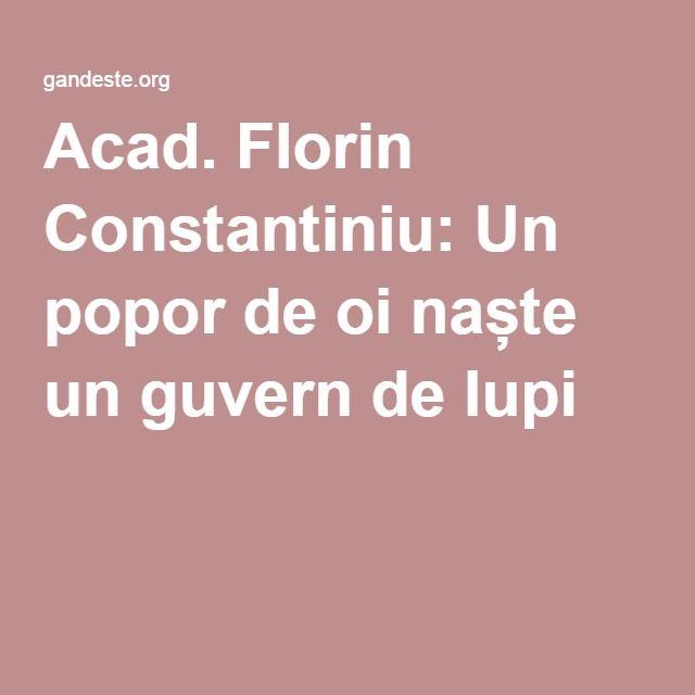Acad. Florin Constantiniu: Un popor de oi naște un guvern de lupi