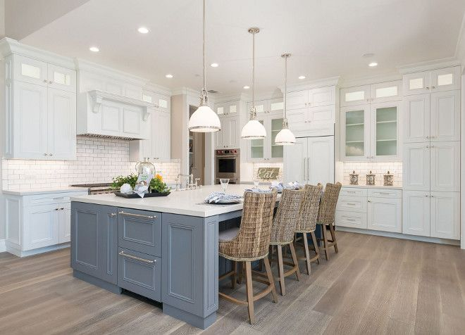 White kitchen with grey island and white oak hardwood floor with whitewash. White kitchen with grey island and white oak hardwood floor with whitewash #Whitekitchen #greyisland #whiteoak #hardwoodfloor #whitewashhardwood #whitewashfloor
