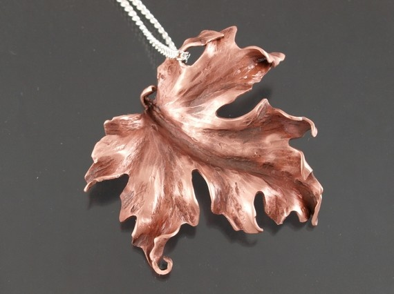 Handcrafted Copper Maple Leaf on a Silver Chain - Made to order