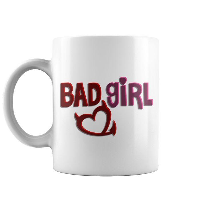 Bad girl mug, naughty devil's horn, heart, red and pink, 3d letter effect