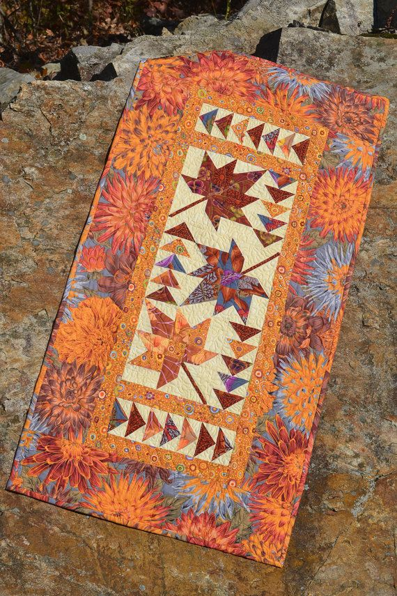 Signs of Autumn- Companion Pattern for Corner Beam, Square 2, and WIng Clipper 1- Which can be purchased at my shop.      This duo, wall quilt and