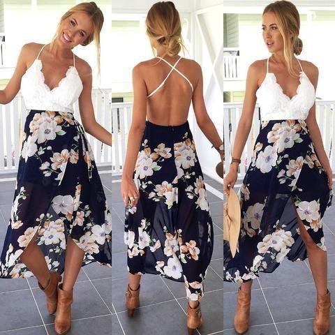 Backless Floral Print Patchwork Lace Chiffon Dress