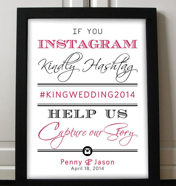 Typography Script Instagram Sign Wedding Printable - 8.5x11 | Stag Doe Engagement Party Instagram Poster | Any Color | Instagram Wedding by PaintTheDayDesigns, $15.00