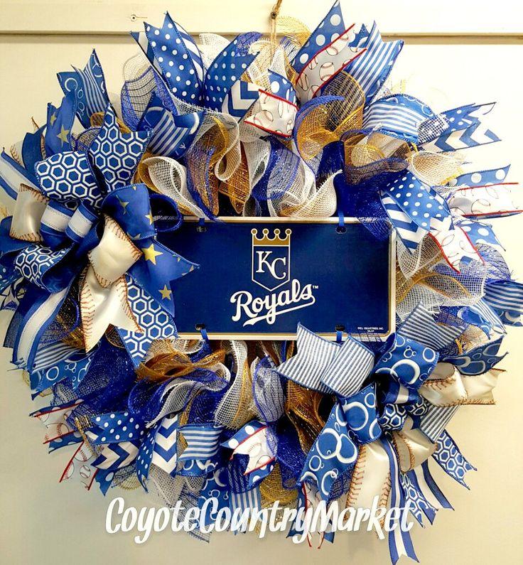 Kansas City Royals Mesh Door Wreath, Royals Wreath, Baseball Wreath, KC Royals…