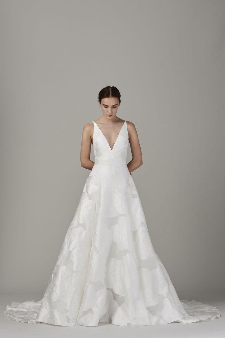 V-neck, textured, ballgown wedding dress.     Fall/Winter 2017 Lela Rose Bridal Collection available at Solutions Bridal, Orlando