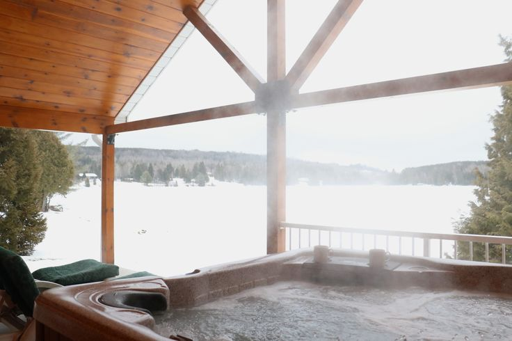The perfect spot for your morning coffee! :) #Hottub #steamy #coffee #winter