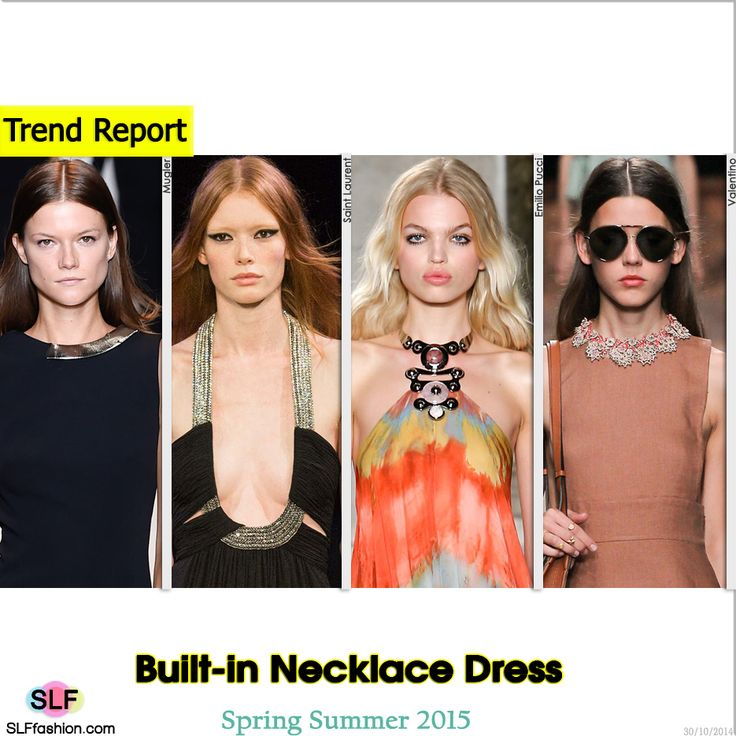 Built-in Necklace Dress Trend for Spring Summer 2015. Mugler, Saint Laurent, Emilio Pucci and Valentino  #Spring2015 #SS15 #Fashion