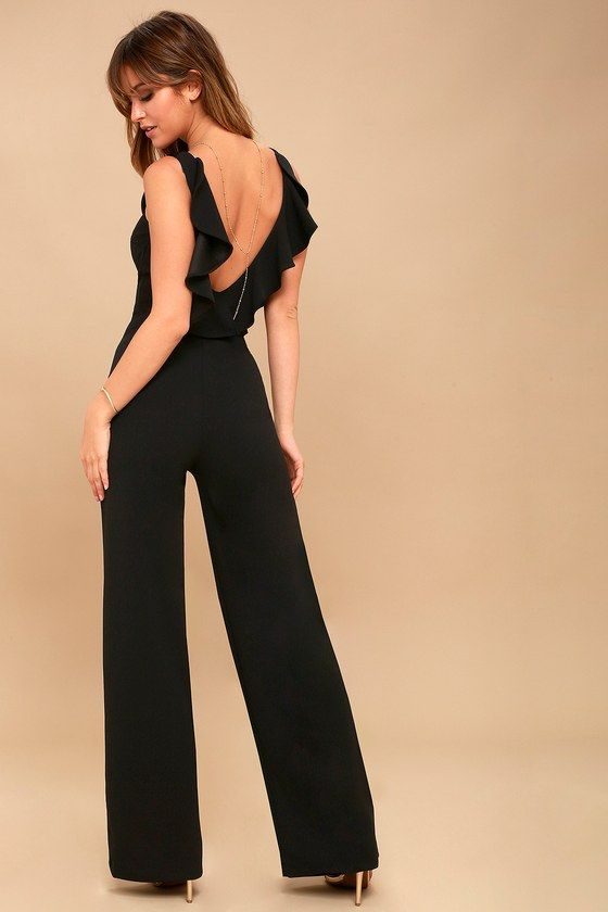 81dfe955f246 Be event ready in an instant with the Enamored Black Backless Jumpsuit!  Medium-weight knit shapes a rounded neckline and darted