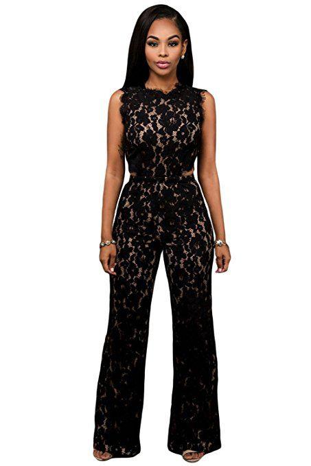 Donna elegante pizzo nero gamba larga tuta Clubwear Abbigliamento Festival Partito taglia L UK 12EU 40