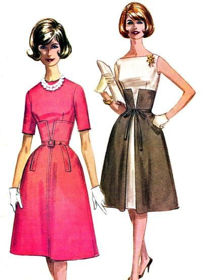 Rare Original Vintage 1960s McCalls Sewing Pattern 6114 - Misses Cocktail Midriff Dress - Size 16