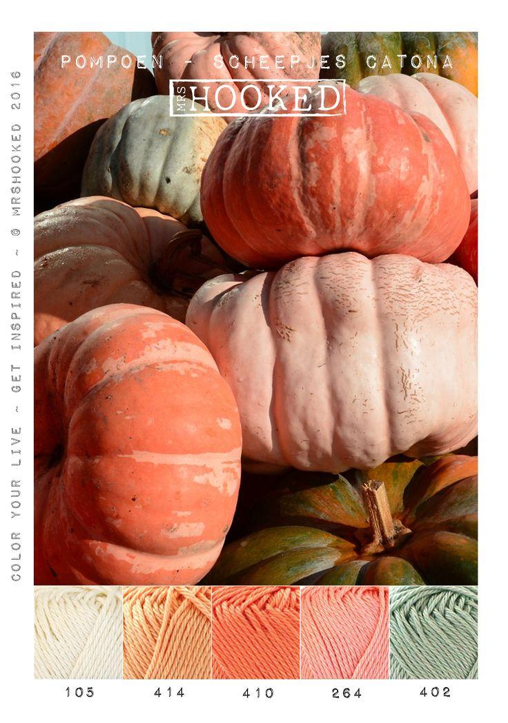 Kleurinspiratie pompoen. Mooie herfst tinten Scheepjes Catona.