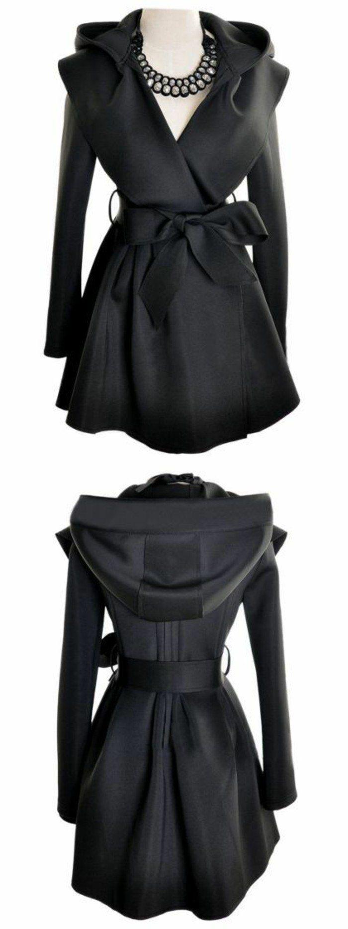 trench noir femme style baroque avec grande capuche