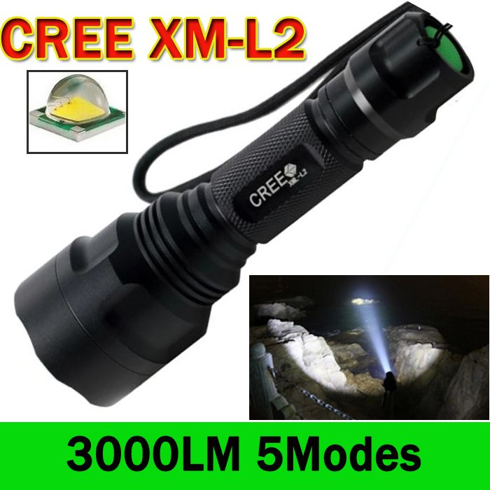 LED Flashlight 3000 Lumens C8 Cree XM-L2 LED Torch Lanterna 5 Modes LED Flashlight  Camping Hunting Tactical Flashlight  ZK59 #Affiliate