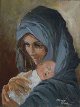 Carolyn Blish, Mary's Tear - Her name is Mary. She holds the wee baby form fresh from her womb, the very Son of God. Hardly more than a child herself, a tear flows at the enormity of the realization she has been chosen to be the mother of God. His name is Jesus. He is the power that created the galaxies, the promised Deliverer, the long expected Savior. Mary's Baby and Mary's God are one. Actually, it is He who holds her. Truly, it is He who holds us.