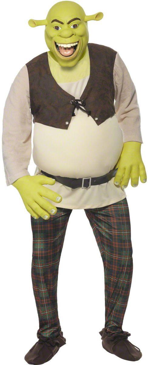 Shrek™ kostuum voor mannen : Dit Shrek kostuum voor mannen bestaat uit een top, een broek, een masker en handschoenen (schoenen niet meegeleverd). De top is gevoerd, die de ronde buik van het karakter benadrukt. De riem is...