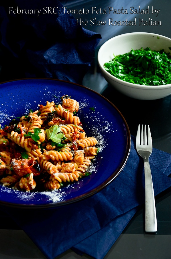 Rotini with sun-dried tomatoes and feta...switch to whole wheat pasta ...