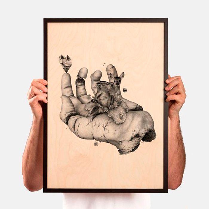 Mano de Ugo Gattoni - Impresión Gicleé sobre madera de abedul  http://followtheforest.com/ilustraciones/7-mano-ugo-gattoni.html