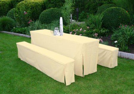 7058 Hussen-Set für Festzeltgarnitur mit 50 cm Tisch, gepolsterte Ausführung, cremefarben: Amazon.de: Küche & Haushalt