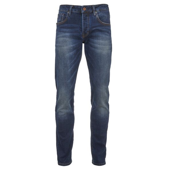 Scotch & Soda Men's Ralston Slim Jeans - Dawn To Dusk ($175) ❤ liked on Polyvore featuring men's fashion, men's clothing, men's jeans, men, men wear, guys, men's pants, blue, mens slim jeans and mens leather jeans