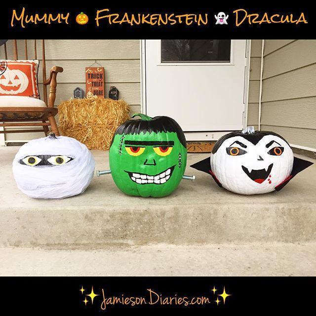 DIY No Carve Painted Pumpkins. Mummy, Frankenstein & Dracula.  #diy #pumpkins #halloween #craft #fun #nocarve #blogger #momblogger #kids #mummy #frankenstein #dracula