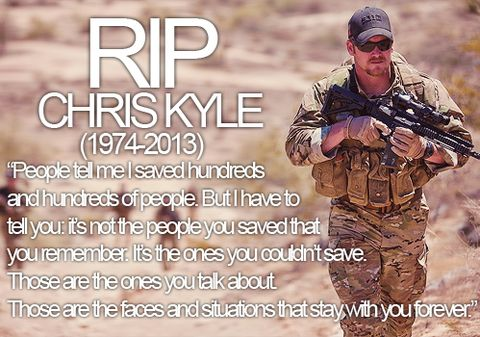 "Navy SEAL Sniper Chris Kyle – The deadliest sniper the American military has ever seen.  Saving 1000's of servicemen and Iraqi national's lives during his 10 year stint as a Navy SEAL sniper, Chris Kyle was in every major battle of the Iraq war and was so effective at killing Iraqi insurgent terrorists that they called him ""The Devil of Ramadi"" while placing an Eighty thousand dollar bounty on his head."