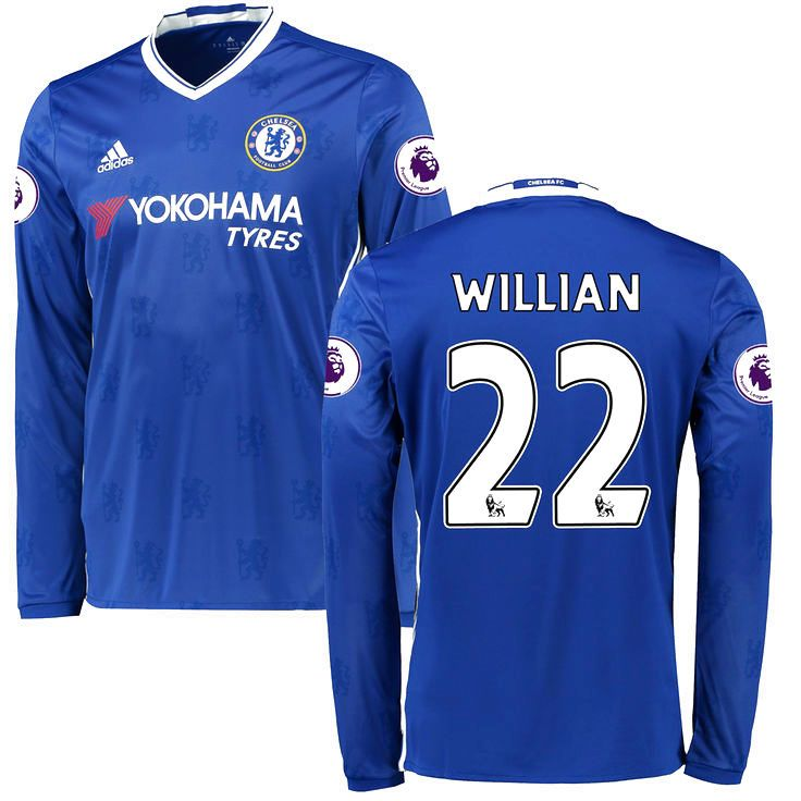 Men's adidas Willian Borges da Silva Blue Chelsea 2016/17 Replica Home EPL Badge Long Sleeve Jersey - $124.99