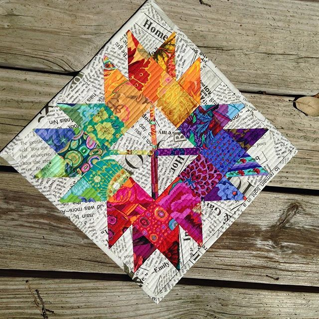 Mini for the #AustinMQG display at Carver Library where our meeting are held ! #miniquilt #kaffefassett