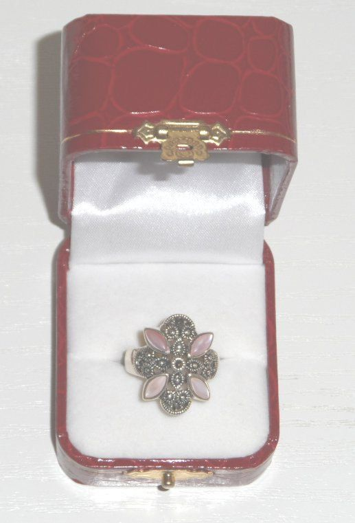 An Art Deco Style Pink Shell & Marcasite Silver Ring - Boxed Gift by AntiquesEtCetera13 on Etsy