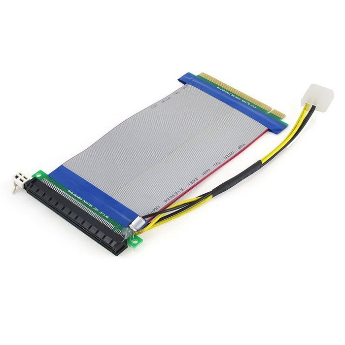 PCI-e 16X to 16X Riser Card Extender Ribbon Cable w/ Molex Connector - Black + Grey (23cm). Powered PCI Express PCI-e 16X TO 16X Riser Card Extender Ribbon Cable w/ Molex Connector (Litecoin & Bitcoin) * Brand New * Solid Capacitors fliter Current,make voltage more stable.* Molex connector modification is designed to reroute power from your motherboard PCIe slot. This prevents graphics card damage to 5970 & 6990 cards running via an extender cable, and also prevents motherboard damage to any…