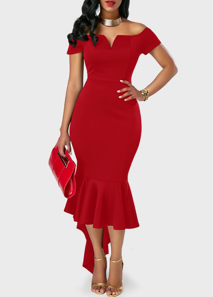 Asymmetric Hem Split Neck Red Bardot Dress on sale only US$31.41 now, buy cheap Asymmetric Hem Split Neck Red Bardot Dress at liligal.com