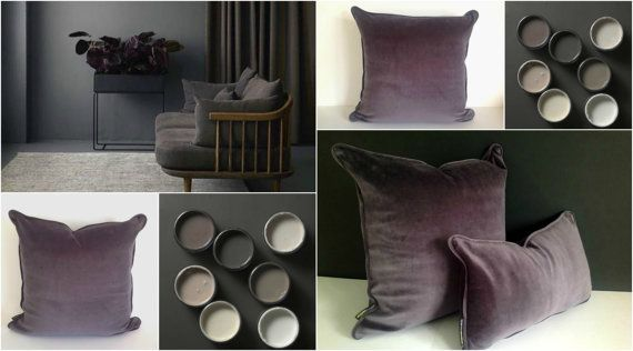 Grey Velvet Throw Pillow Cover Grey Cushion by CushionsandMore