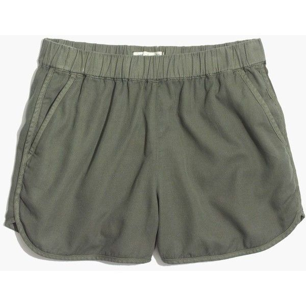 MADEWELL Linen-Cotton Pull-On Shorts ($50) ❤ liked on Polyvore featuring shorts, highland green, cutoff shorts, cut off shorts, linen shorts, cotton linen shorts and pull on shorts