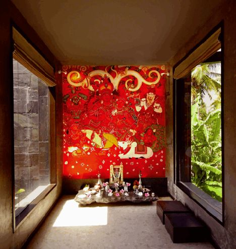 A Bright Wall mural depicting mythical figures; Pooja Room
