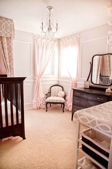 d i y d e s i g n: DIY Nursery in Pink  Grey. I just like the ruffle curtains and the wall trim. Possible ideas for my craft room!
