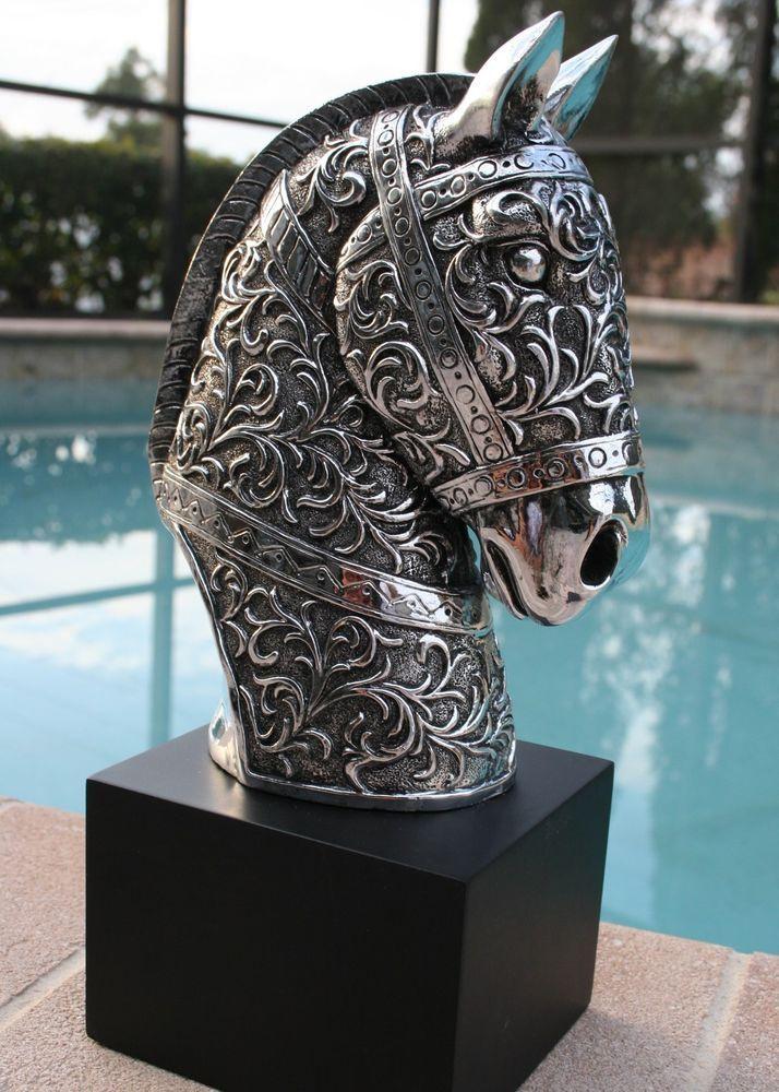 new modern silver horse head statue sculpture home decor equestrian. Black Bedroom Furniture Sets. Home Design Ideas