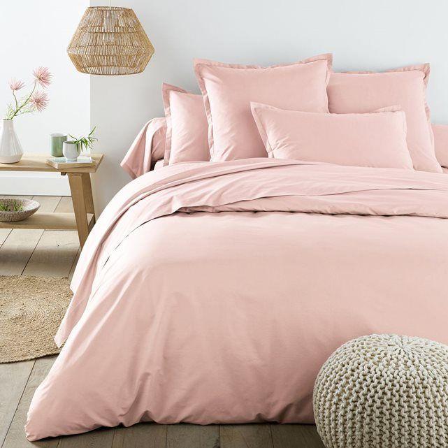 Linge de lit en percale rose poudré et gris foncé