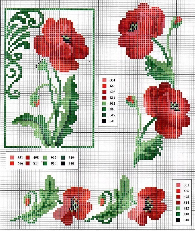 Red Poppy counted cross stitch graph from ENCANTOS EM PONTO CRUZ: Flores