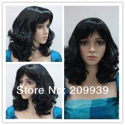Кк 0070 Новый прекрасный Короткие вьющиеся черные волосы синтетического волокна полный парик/парики 4.28