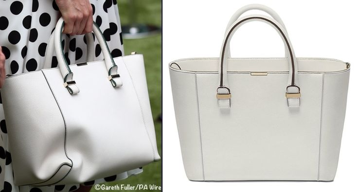 Back to today's look, many readers recognized Kate's bag; she carried her 'Quincy' tote by Victoria Beckham again. First seen at Wimbledon last year, Kate also carried it July 3rd when she attended the Gentlemen's Singles opening match. ©PA Wire / Victoria Beckham