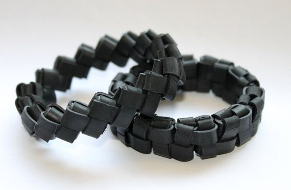 Woven Rubber Bike Inner Tube Bracelet Upcycled Recycled Repurposed Jewelry Black Bicycle Cute Thick Stretch Wristband Cuff Accessory Cyclist