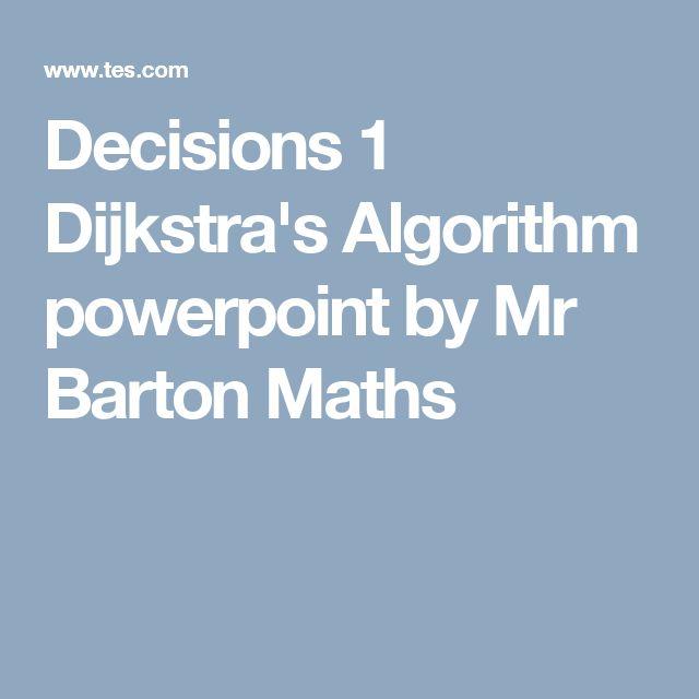 Decisions 1 Dijkstra's Algorithm powerpoint by Mr Barton Maths