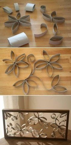 Unique and creative art made out of toilet paper rolls and a picture frame.  You could keep it rustic, as in this pic or you could paint the frame and the flowers, as in the tutorial.